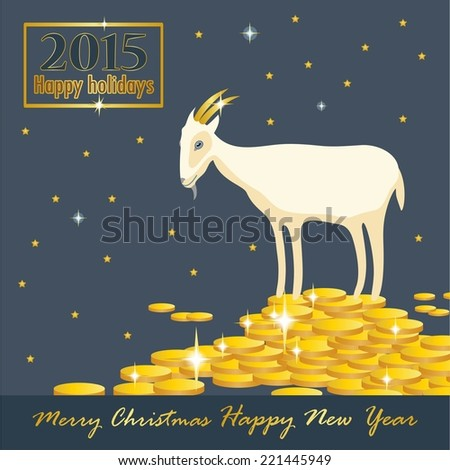 goat on a mountain of coins