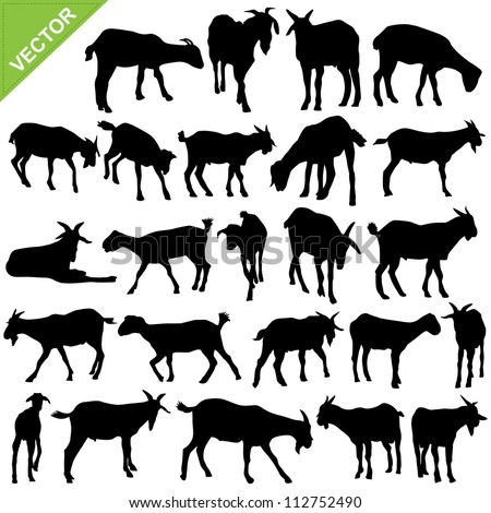 Goat silhouettes vector