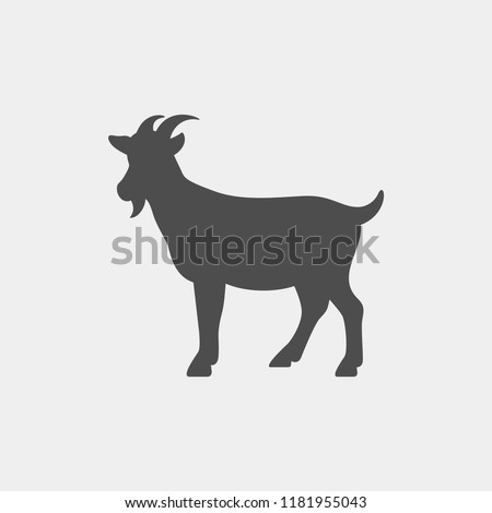 Goat vector silhouette. Farm animal silhouette
