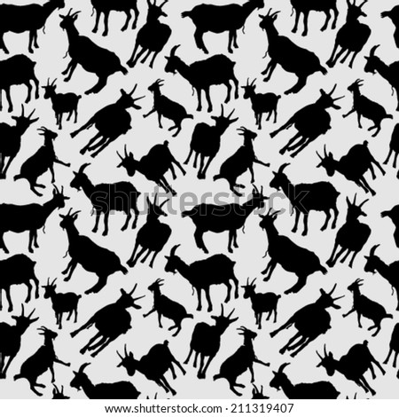 Goats Silhouettes Seamless