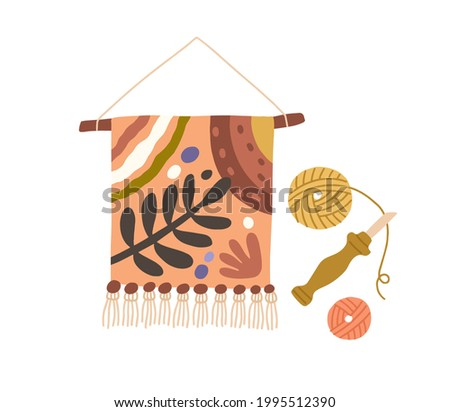 Gobelin tapestry hanging on stick. Traditional art of embroidered textile. Fancywork on fabric. Modern handwork. Flat vector illustration of handicraft isolated on white background Stock photo ©