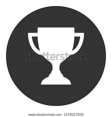 Goblet icon. 1-st place sign. Victory symbol. Cup vector icon. First place cup sign. Reward victory cup symbol. Ceremony contest cup icon. EPS 10 flat symbol. Champion sign. Round icon design