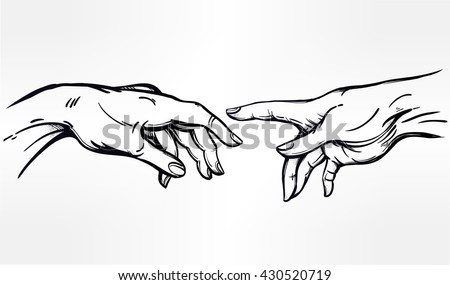 God and Adams hands. Creation of human. Genesis. Hope faith and help, assistance and support in religion. Isolated vector illustration. Tattoo design, spiritual symbol for your use.