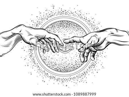 god and adams hands modern