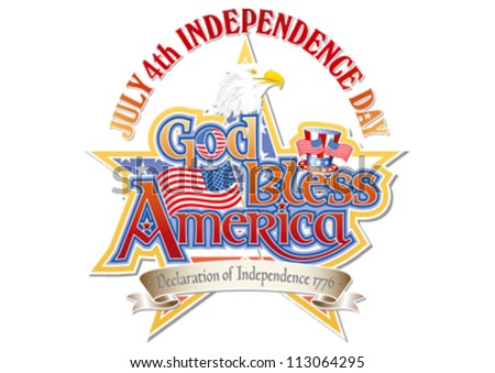 God Bless America July 4th Independence Day editable vector graphic