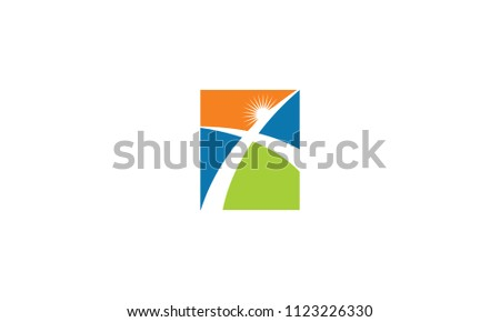 god cross road logo icon vector