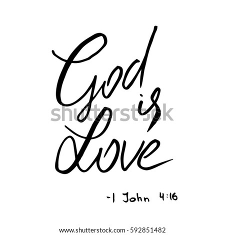 god is love quote lettering