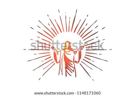 God, Jesus christ, grace, good, ascension concept. Hand drawn silhouette of Jesus christ, the son of god concept sketch. Isolated vector illustration.