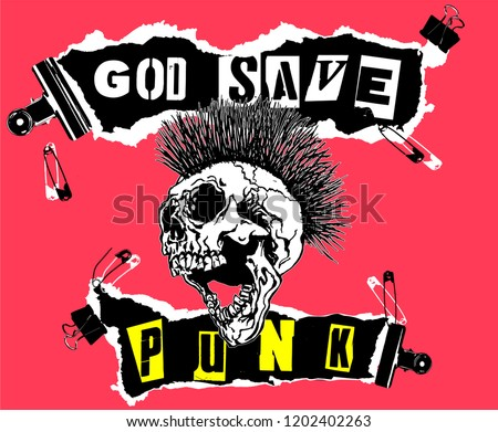 God Save Punk. Screaming skull head with mohawk hair isolated on pink background.
