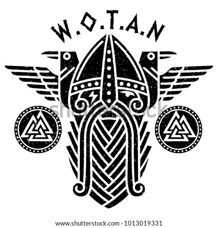 god wotan and two ravens in a