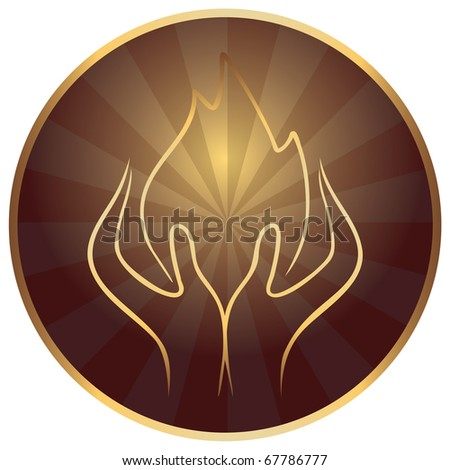 gods hands with sacred flame