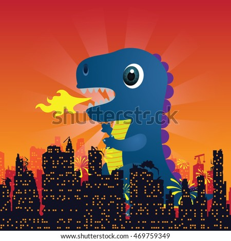 godzilla cartoon  on white