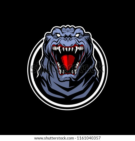 godzilla head Character vector template