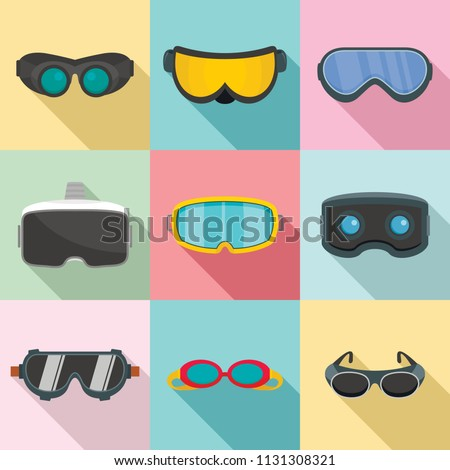 Goggles ski glass mask icons set. Flat illustration of 9 goggles ski glass mask vector icons for web