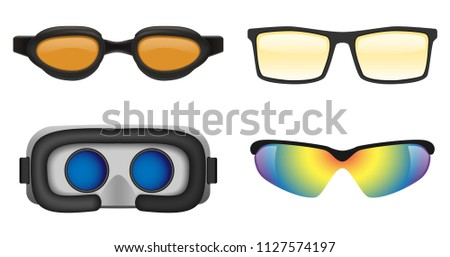 Goggles ski glass mask icons set. Realistic illustration of 4 goggles ski glass mask vector icons for web