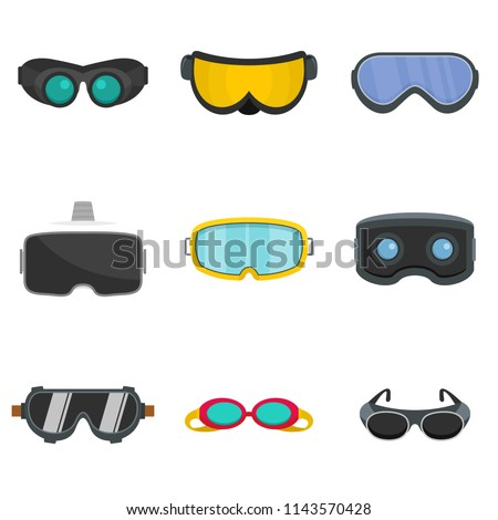 Goggles welding ski glass mask icons set. Flat illustration of 9 goggles welding ski glass mask vector icons isolated on white