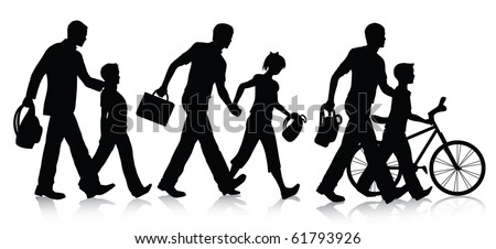 Going to school silhouettes - stock vector