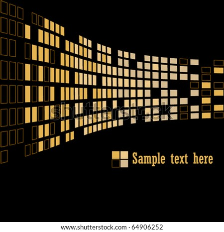Gold abstract background on black, vector illustration