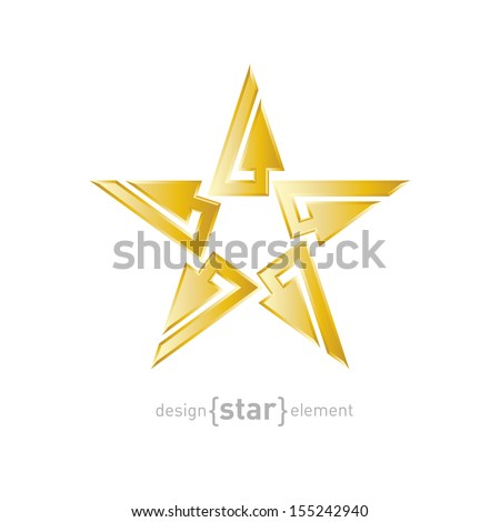 gold abstract star with arrows