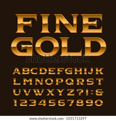 Gold Alphabet Font Luxury Glossy Letters Numbers And Symbols