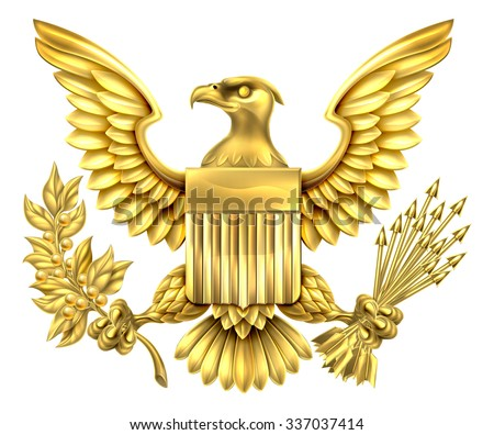 Gold American Eagle Design With Bald Eagle Of The United