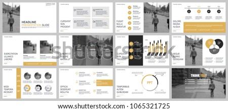 Gold and black business presentation slides templates from infographic elements. Can be used for presentation, flyer and leaflet, brochure, marketing, advertising, annual report, banner, booklet.