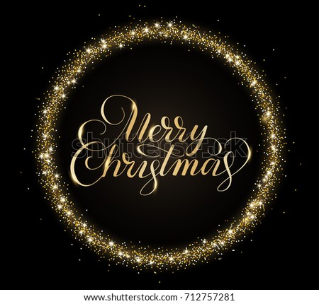 gold and black card with merry christmas text and glitter frame sparkling holiday background merry christmas and happy new year