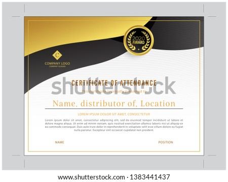 gold and black combination certificate of distributor