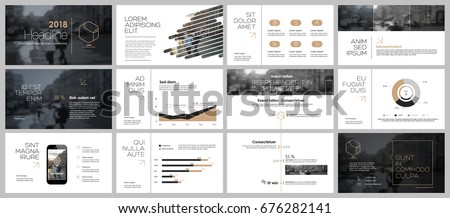 Gold and black elements for infographics on a white background. Presentation templates. Use in presentation, flyer and leaflet, corporate report, marketing, advertising, annual report, banner.