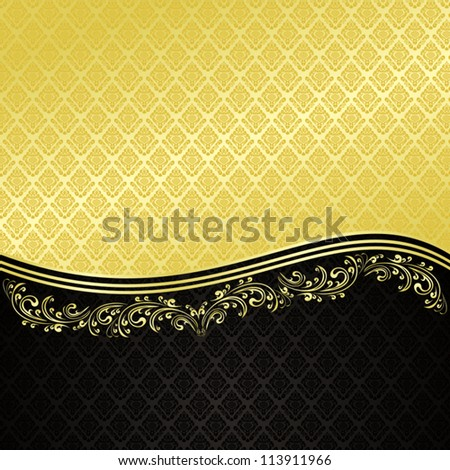 Gold and black - luxury Background decorated a Vintage ornament.