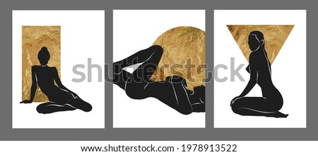 Gold and black women wall art, vector set. Boho silhouette art drawing with abstract shape. Abstract body Art design for print, cover, wallpaper, Minimal wall art.