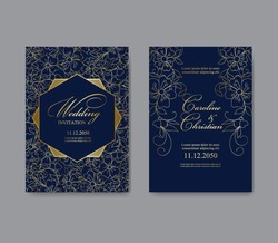 Gold and blue greeting or invitation card template design. Wedding ornament or birthday and anniversary backdrop. Vector set of card with fantasy small flowers