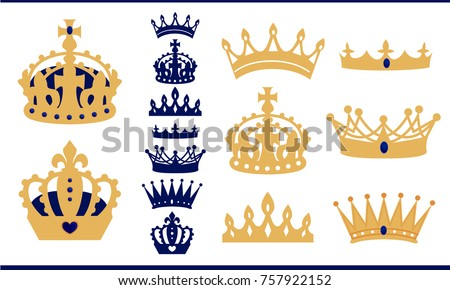 Gold and blue navy crowns set. Prince and king crown collection. Isolated vector vintage silhouette. Can be used for royal party invitation - birthday, baby shower, wedding. Shapes for laser cutting