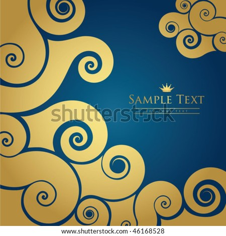Gold and blue swirl background