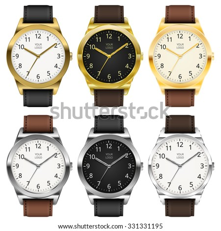 gold and chrome watches  six