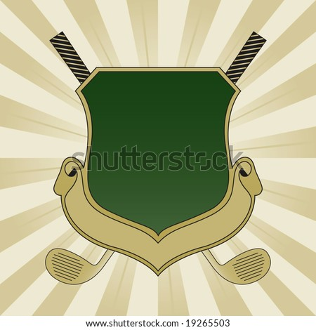 Gold and Green Golf Shield