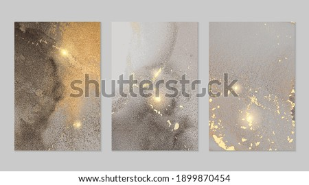 Gold and grey stone marble pattern with sparkles. Abstract vector background in alcohol ink technique. Modern paint with glitter. Set of templates for banner, poster design. Fluid art