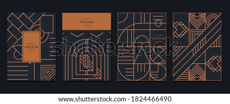 Gold and Luxury Invitation card design vector. Abstract geometry frame and Art deco pattern background. Use for wedding invitation, cover, VIP card, print, poster and wallpaper. Vector illustration. Сток-фото ©
