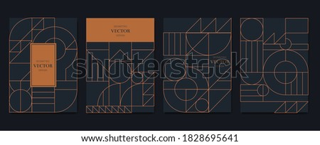 Gold and Luxury Invitation card design vector. Abstract geometry frame and Art deco pattern background. Use for wedding invitation, cover, VIP card, print, poster and wallpaper. Vector illustration. ストックフォト ©