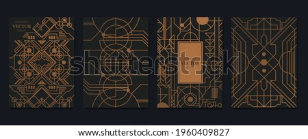 Gold and Luxury Invitation card design vector. Abstract geometry frame and Art deco pattern background. Use for wedding invitation, cover, VIP card, print, poster and wallpaper. Vector illustration. Foto stock ©