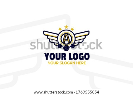 gold and navy squad logogram