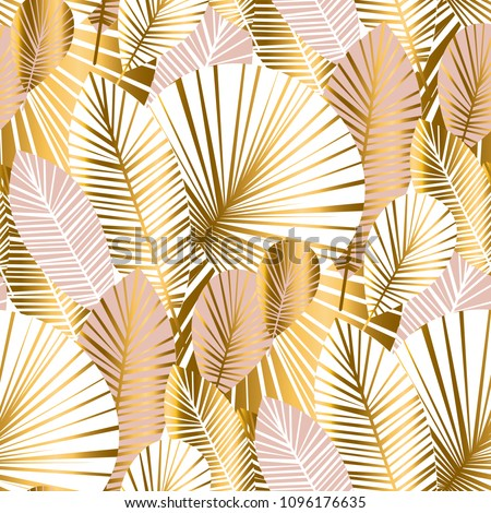 gold and pale rose abstract leaves seamless pattern for background, wrapping paper, fabric on blue checkered background. floral botalical endless repeatable motif for surface design. stock  illustrati