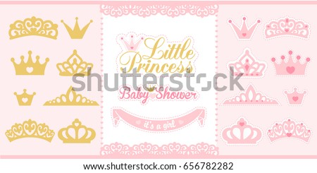 gold and pink crowns set