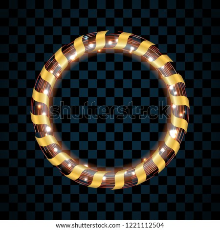 gold and red circle isolated on transparent black background golden ring frame glitter round colorful christmas lights background sale new year