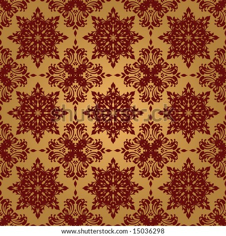 Gold and red illustrated seamless repeating wallpaper design