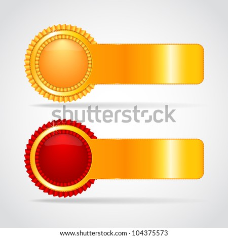 Gold And Red Label, Isolated On White Background, Vector Illustration - stock vector