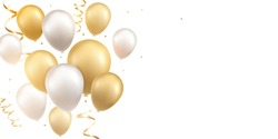 Gold and silver balloons with confetti on white background. Celebration background design.