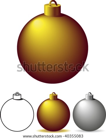 Gold and silver christmas bulbs - vector illustrations