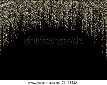 Gold and silver glitter festoons hanging christmas or new year background vector illustration. Confetti dust falling, garlands vertical lines. Sparkle tinsels confetti design, holiday lights.