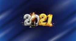 Gold and silver realistic figures 2021 Happy New year with a bottle of champagne on a blue colored background - foil balloons 2021 horizontal banner, New year 3D text background vector illustration